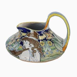 Art Nouveau Keramik Krug von Charolles