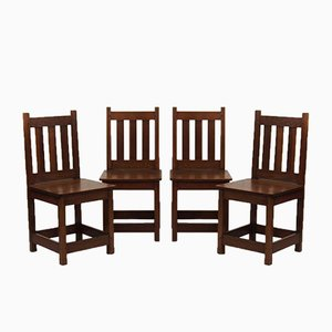Antique Arts & Crafts Oak Chairs, Set of 4