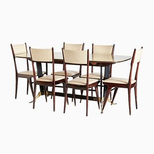 Vintage Italian Dining Table and Chairs Set, 1970s, Set of 7