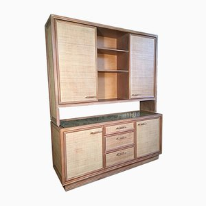Rattan and Faux Bamboo China Buffet Cabinet with Hutch, 1980s