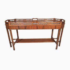 Metal Faux Bamboo Console Table, 1980s