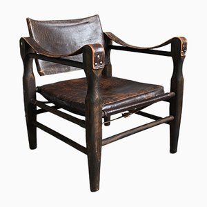 Vintage Danish Leather Safari Armchair, 1950s