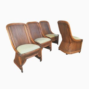 Rattan and Bamboo Sculptural High Back Dining Chairs, 1970s, Set of 4