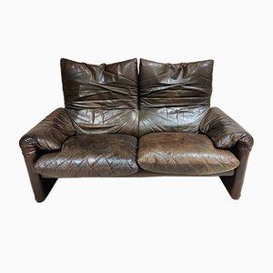 Leather Maralunga Sofa by Vico Magistretti for Cassina, 1970s
