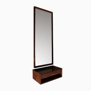 Danish Rosewood Mirror with Drawer by Aksel Kjersgaard for Odder Møbler, 1960s