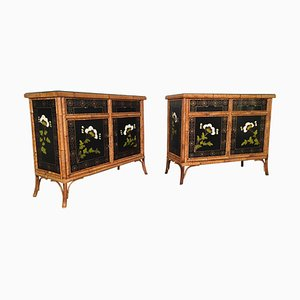Hand Painted Bamboo Cabinets, 1950s, Set of 2