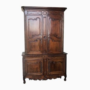 Antique French Walnut Deux Corps Larder Cupboard