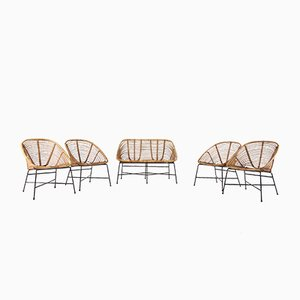 Steel and Bamboo Lounge Chairs and Sofa Set, 1960s, Set of 5