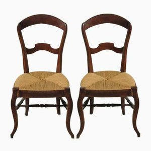 Louis Philippe Walnut Side Chairs, 1930s, Set of 2
