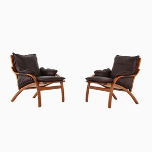 Leather Lounge Chairs from Mogens Hansen, 1970s, Set of 2
