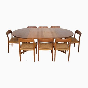 Danish Teak Model 75 Dining Table & Chairs Set by Niels Otto Møller for Skobvy, 1960s