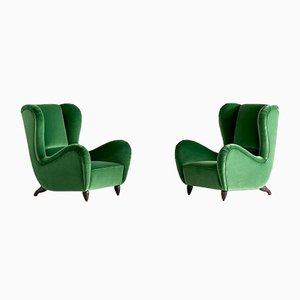Green Velvet Armchairs by Guglielmo Ulrich, 1940s, Set of 2