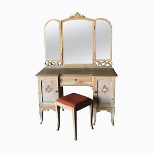 Swedish Desk with Mirror & Stool, 1920s, Set of 2