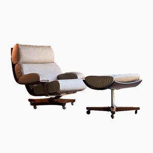 Teak Housemaster Chair & Footstool by K M Wilkins for G-Plan, 1971, Set of 2