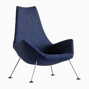 English Blue Raf Simons Bouclé Fabric Lounge Chair by Peter Hoyte, 1960s