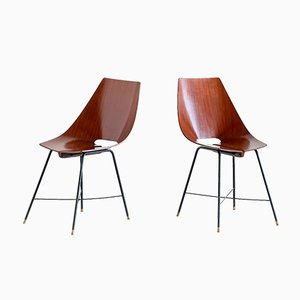 Italian Plywood Dining Chairs from Società Compensati Curvati , 1959, Set of 6