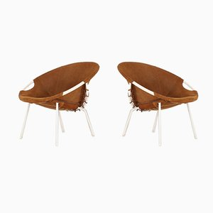 Suede Lounge Chairs from Lusch & Co, 1960s, Set of 2
