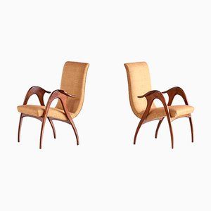 Italian Walnut Sculptural Armchairs from Malatesta & Mason, 1950s, Set of 2
