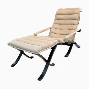 Leather Folding Lounge Chair with Ottoman by Ingmar Relling for Westnofa, 1970s