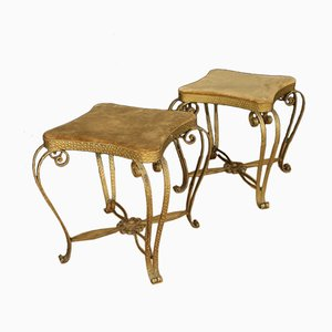Italian Golden Metal & Velvet Footstools, 1970s, Set of 2