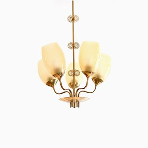 Brass 5-Light Chandelier by Paavo Tynell for Oy Taito Ab, 1949
