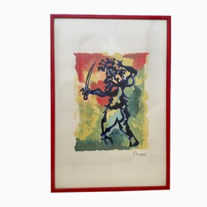 Watercolor with Red Frame by Jean Lurçat, 1960s