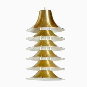 Golden Lamelled Tiptop Ceiling Lamp by Jorgen Gammelgaard for Louis Poulsen, 1960s