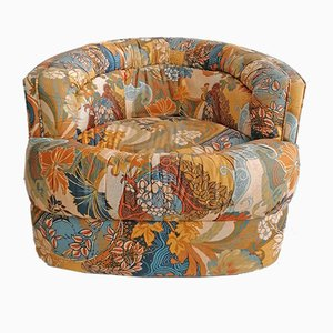 American Swivel Floral Fabric Lounge Chair, 1970s