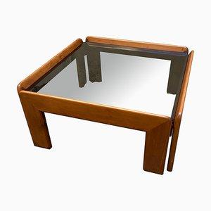 Mesa de centro vintage de nogal y cristal de Tobia & Afra Scarpa