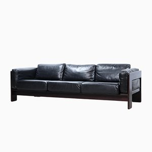 Black Leather Bastiano Sofa by Afra and Tobia Scarpa for Gavina, 1960s