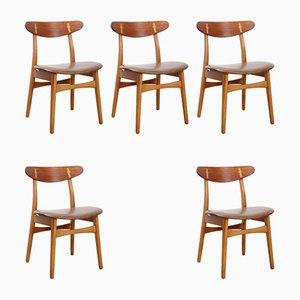 CH30 Esszimmerstühle von Hans J. Wegner für Carl Hansen, 1950er, 5er Set