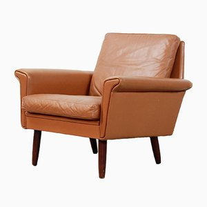 Danish Brown Leather Armchair from Vejen Pølstermøbelfabrik, 1970s