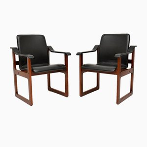 Danish & Leather Rosewood Armchairs, 1960s, Set of 2