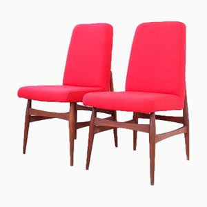 Mid-Century Red Fabric & Teak Side Chairs, Set of 2
