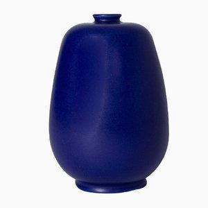 Blaue Steingut Vase von Eric & Inger Triller für Tobo, 1950er