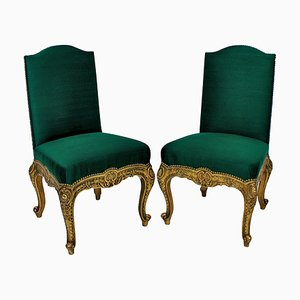 Antique Spanish Gilt Wood Side Chairs, Set of 2