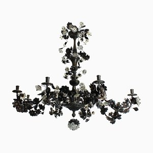 Bronzed Flower and Leaf Chandelier, 1950s