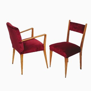 Mid-Century Velvet Armchairs, Set of 2