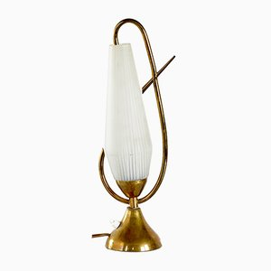 Textured Glass & Brass Table Lamp, 1970s