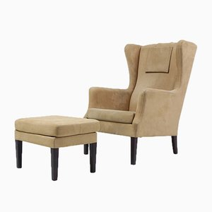 Vintage Wing Armchair & Ottoman by Orla Molgaard-Nielsen for Nielaus & Jek, Set of 2