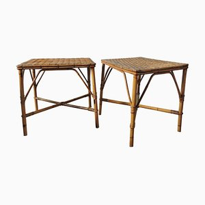 Bamboo Woven Topped Rattan Tables, 1970s, Set of 2