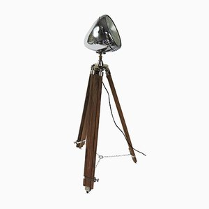 Vintage Chromium Plated Car Head Light Attached to a Wooden Vintage Tripod