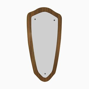 Danish Teak Shield Mirror, 1950s