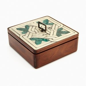 Vintage Wood and Silver Box from Ottaviani