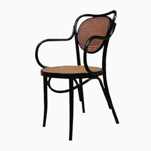 Black Painted Wood & Vienna Straw Dining Chairs by Thonet, 1950s, Set of 2
