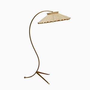 Messing Dreibein Stehlampe, 1950er