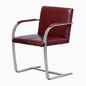Bordeaux Leather & Chromed Steel Brno Lounge Chair by Knoll, 1980s