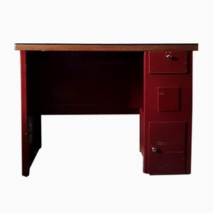 Industrial Burgundy Metal Desk, 1950s