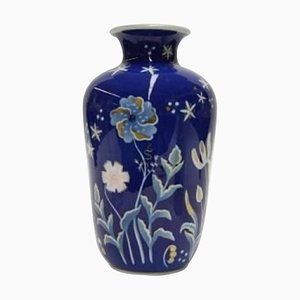 Large Art Deco Hand-Painted with Floral Motifs Porcelain Vase from Rosenthal, Early 20th Century