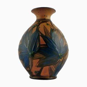Dunkelblaue Glasvase von Kähler für HAK, 1930er